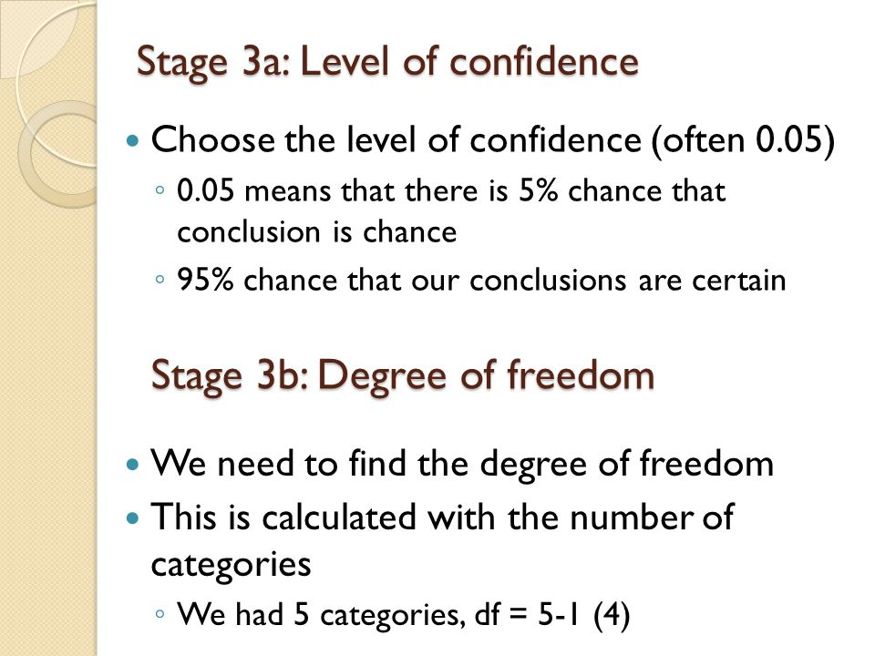 Stage 3a: Level of confidence Choose the level of confidence (often 0.05) ◦ 0.05 means that there is 5% chance that conclusion is chance ◦ 95% chance that our conclusions are certain Stage 3b: Degree of freedom We need to find the degree of freedom This is calculated with the number of categories ◦ We had 5 categories, df = 5-1 (4)