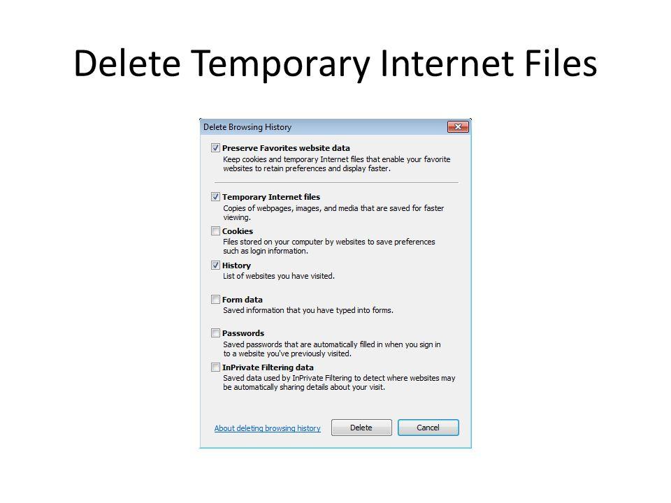 Delete Temporary Internet Files
