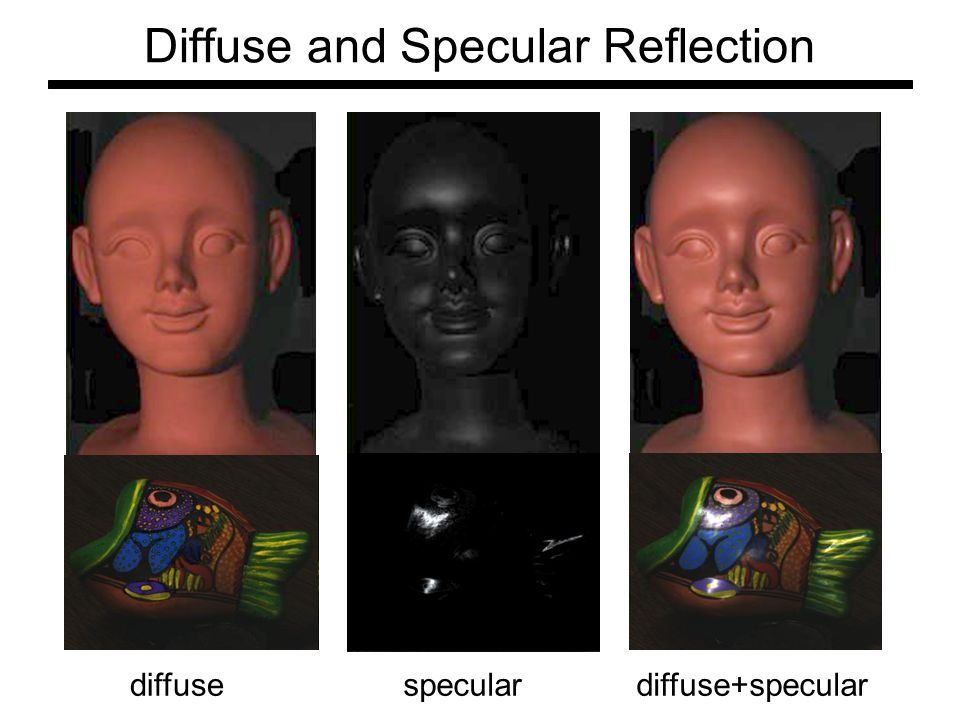 Diffuse and Specular Reflection diffusespeculardiffuse+specular