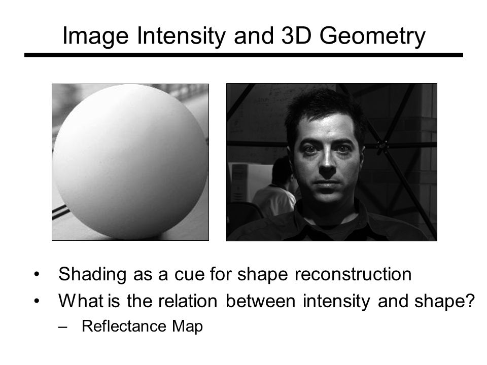 Image Intensity and 3D Geometry Shading as a cue for shape reconstruction What is the relation between intensity and shape? –Reflectance Map