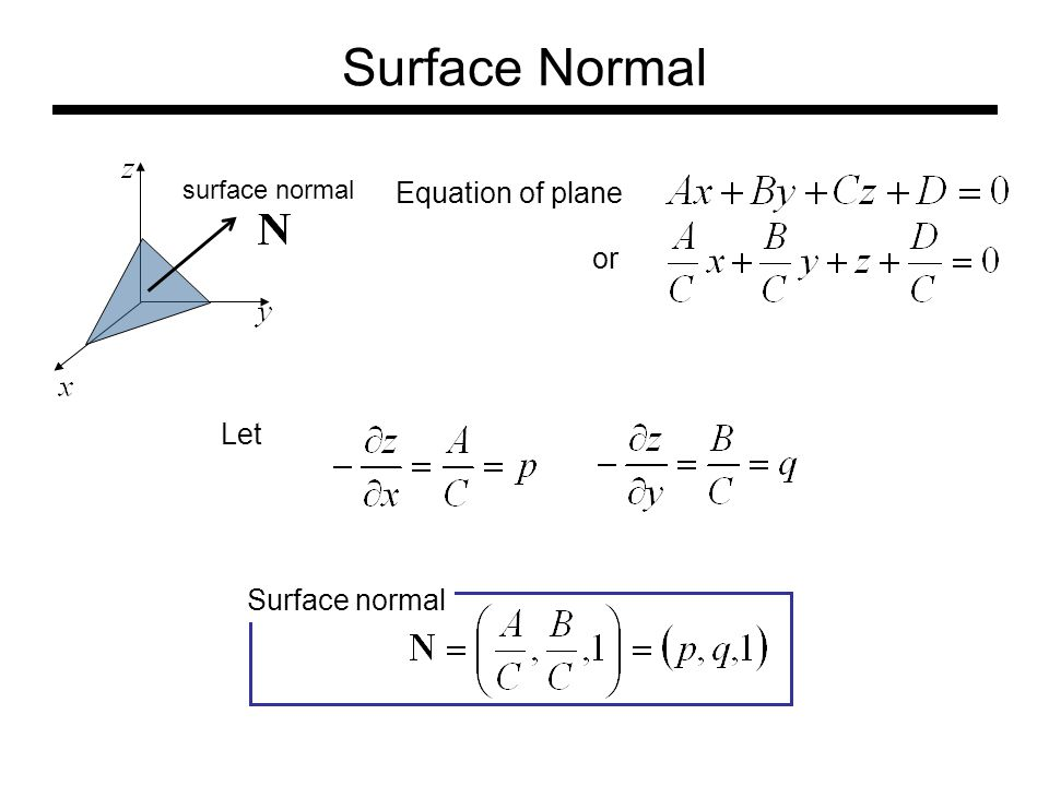 Surface Normal surface normal Equation of plane or Let Surface normal
