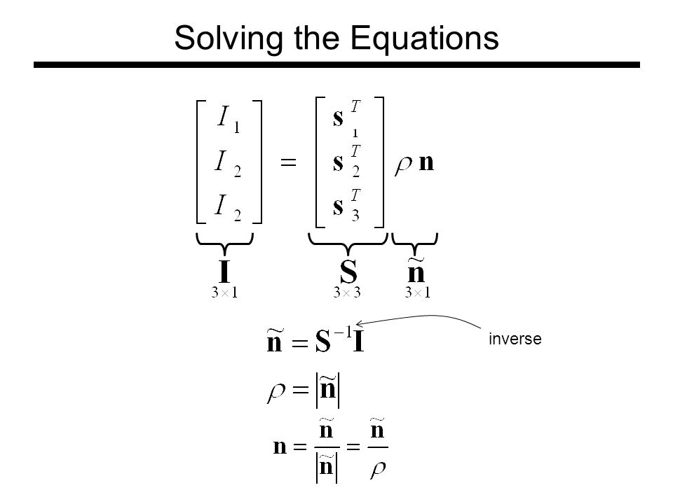 Solving the Equations inverse