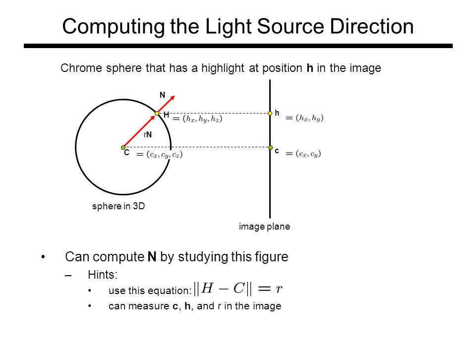Computing the Light Source Direction Can compute N by studying this figure –Hints: use this equation: can measure c, h, and r in the image N rNrN C H c h Chrome sphere that has a highlight at position h in the image image plane sphere in 3D