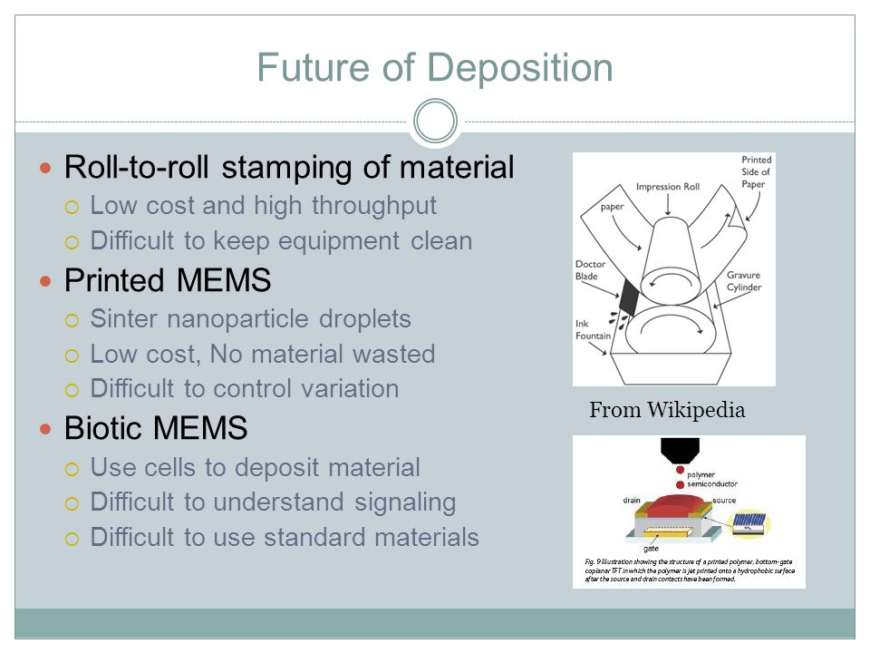 Future of Deposition Roll-to-roll stamping of material  Low cost and high throughput  Difficult to keep equipment clean Printed MEMS  Sinter nanoparticle droplets  Low cost, No material wasted  Difficult to control variation Biotic MEMS  Use cells to deposit material  Difficult to understand signaling  Difficult to use standard materials From Wikipedia
