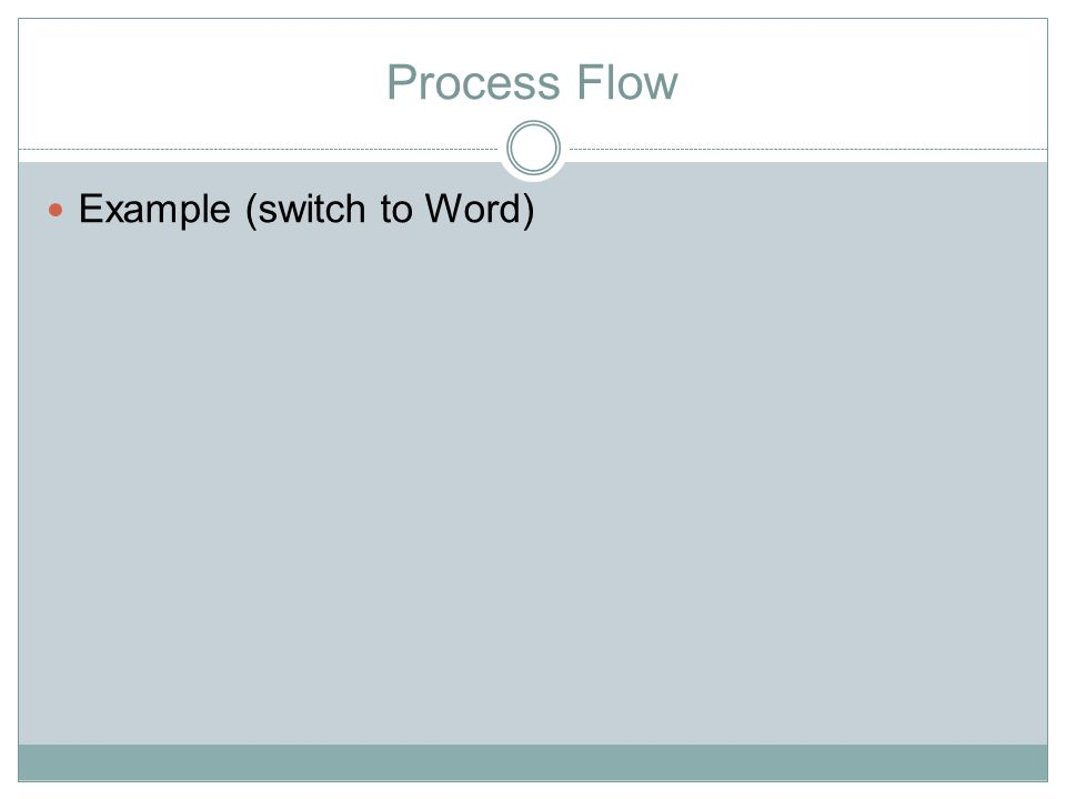 Process Flow Example (switch to Word)