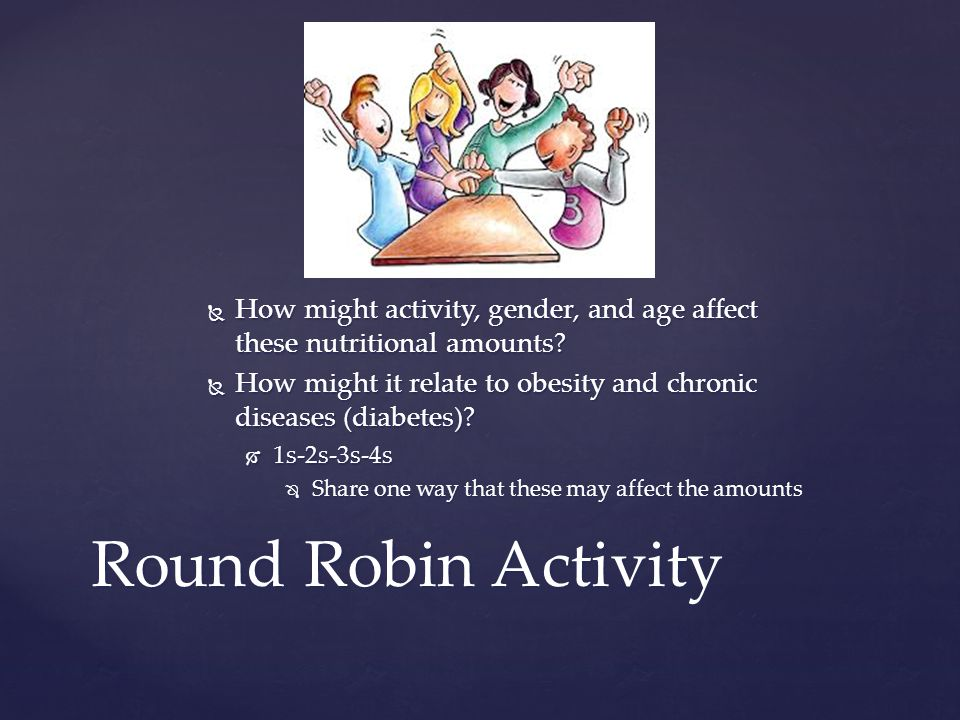  How might activity, gender, and age affect these nutritional amounts.