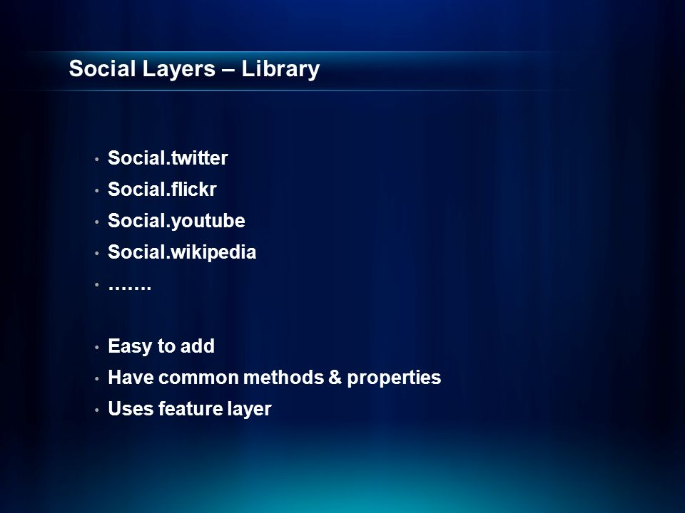 Social Layers – Library Social.twitter Social.flickr Social.youtube Social.wikipedia …….
