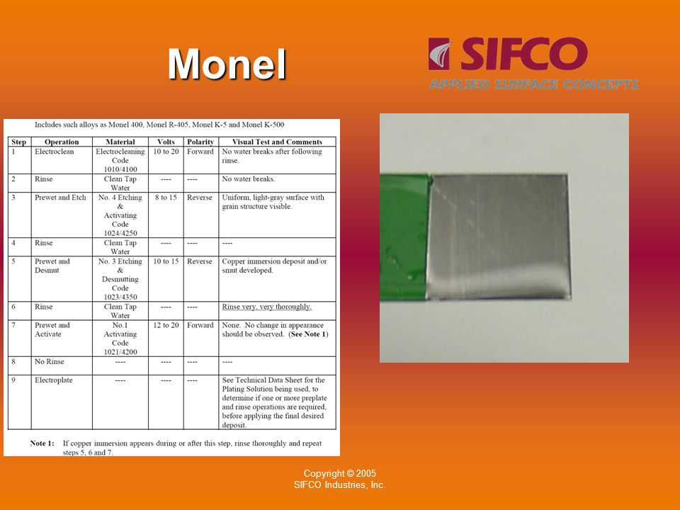 Copyright © 2005 SIFCO Industries, Inc. Monel