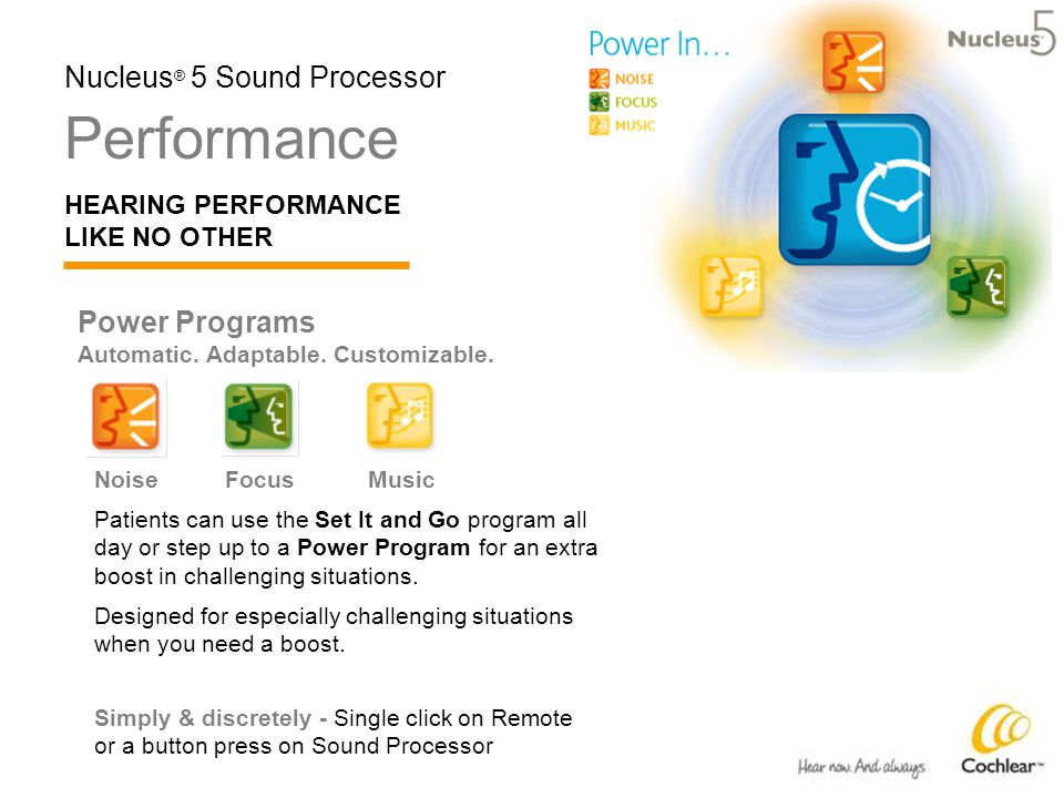 Performance HEARING PERFORMANCE LIKE NO OTHER Nucleus ® 5 Sound Processor Power Programs Automatic.