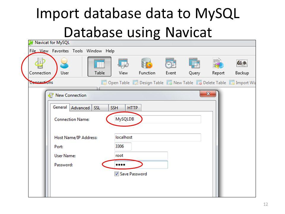 Import database data to MySQL Database using Navicat 12