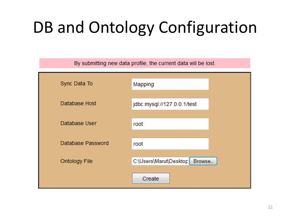 DB and Ontology Configuration 22