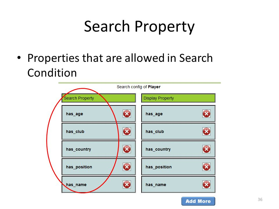 Search Property Properties that are allowed in Search Condition 36