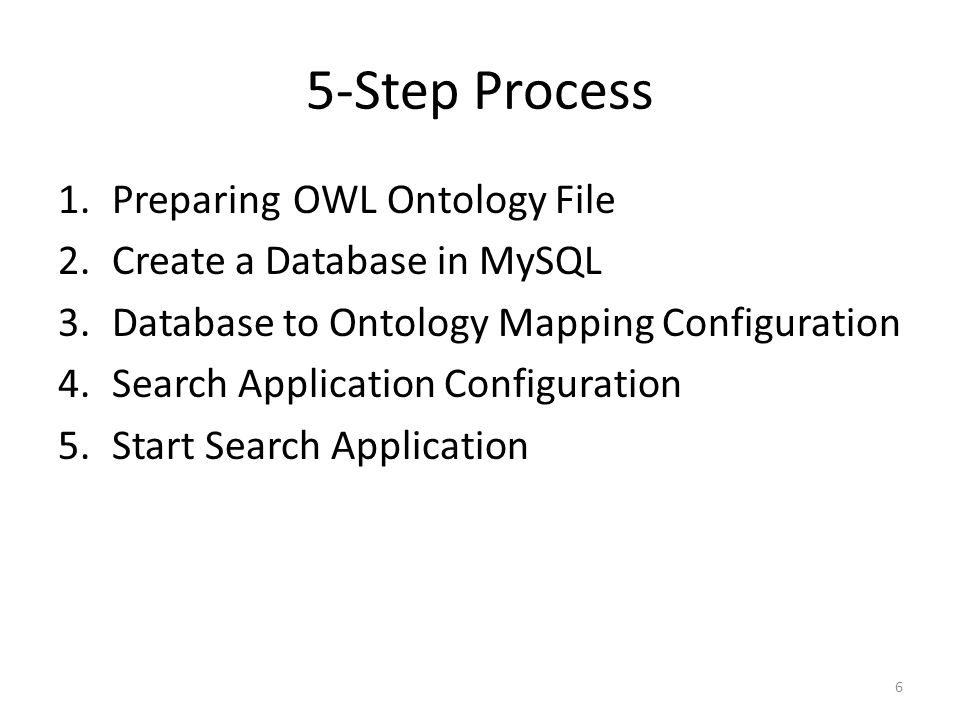 5-Step Process 1.Preparing OWL Ontology File 2.Create a Database in MySQL 3.Database to Ontology Mapping Configuration 4.Search Application Configurat