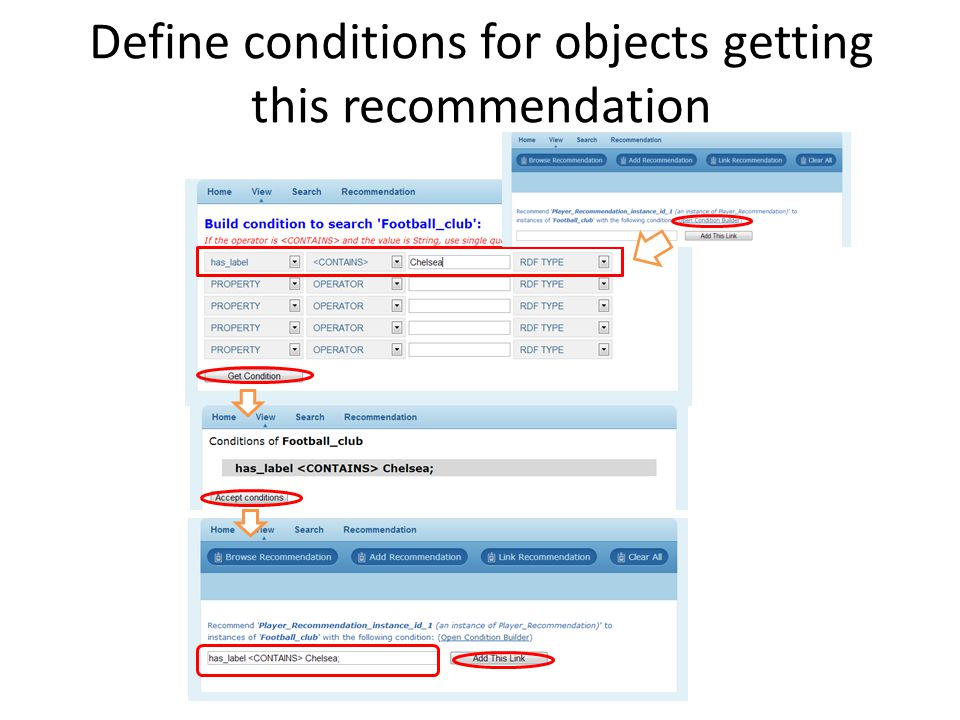 Define conditions for objects getting this recommendation