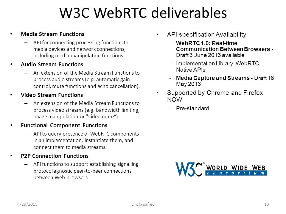 W3C WebRTC deliverables Media Stream Functions – API for connecting processing functions to media devices and network connections, including media manipulation functions.