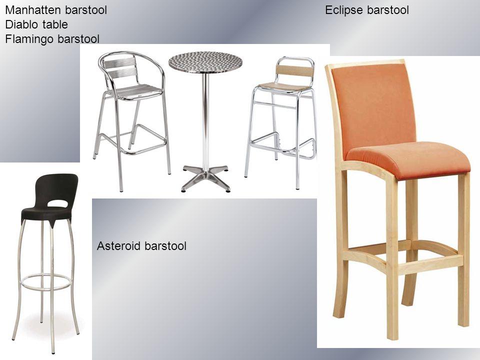 Manhatten barstool Diablo table Flamingo barstool Eclipse barstool Asteroid barstool