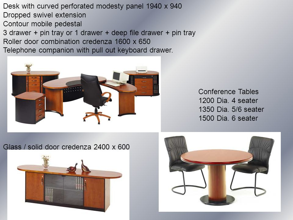 Desk with curved perforated modesty panel 1940 x 940 Dropped swivel extension Contour mobile pedestal 3 drawer + pin tray or 1 drawer + deep file drawer + pin tray Roller door combination credenza 1600 x 650 Telephone companion with pull out keyboard drawer.