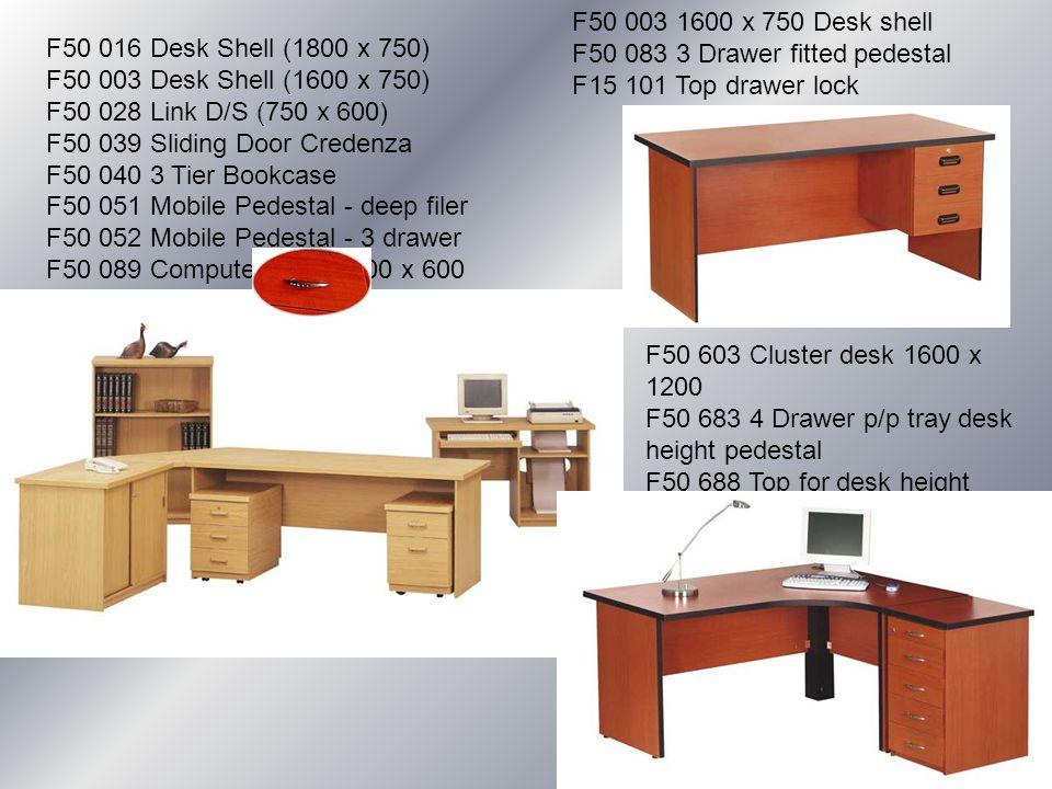 F50 016 Desk Shell (1800 x 750) F50 003 Desk Shell (1600 x 750) F50 028 Link D/S (750 x 600) F50 039 Sliding Door Credenza F50 040 3 Tier Bookcase F50