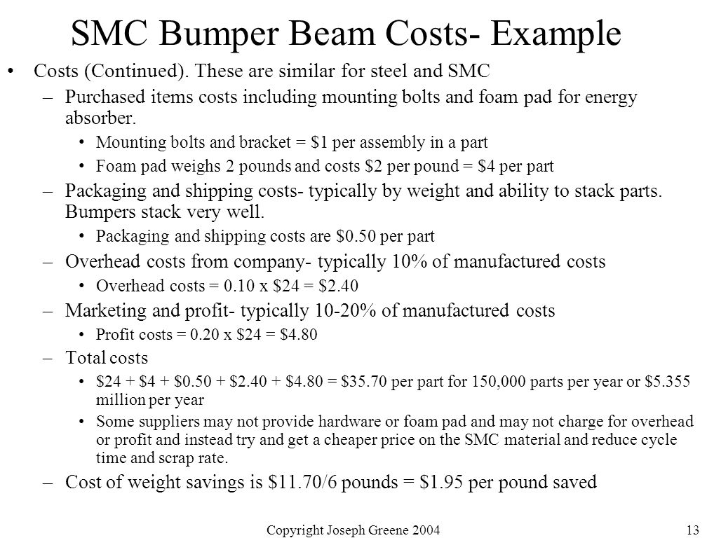 Copyright Joseph Greene 200413 SMC Bumper Beam Costs- Example Costs (Continued).