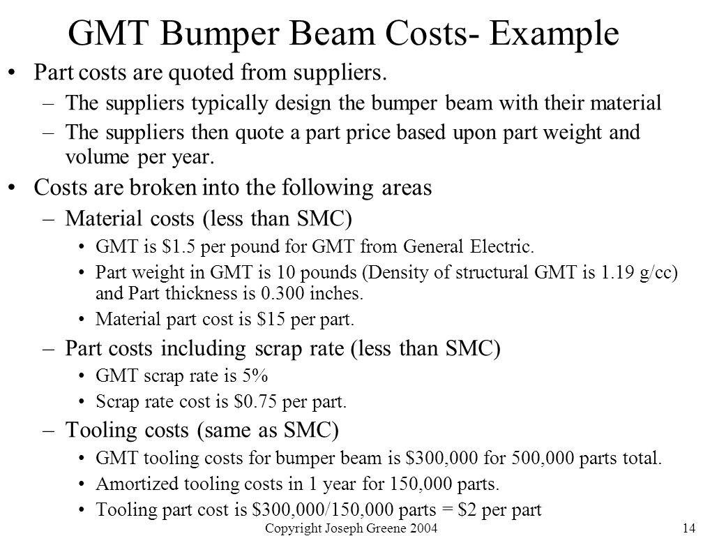 Copyright Joseph Greene 200414 GMT Bumper Beam Costs- Example Part costs are quoted from suppliers.