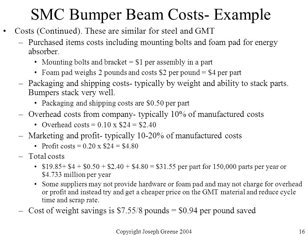 Copyright Joseph Greene 200416 SMC Bumper Beam Costs- Example Costs (Continued).