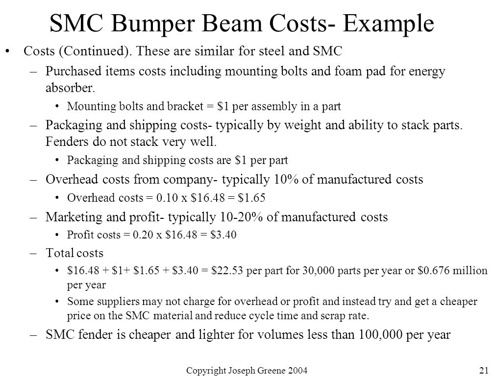 Copyright Joseph Greene 200421 SMC Bumper Beam Costs- Example Costs (Continued).