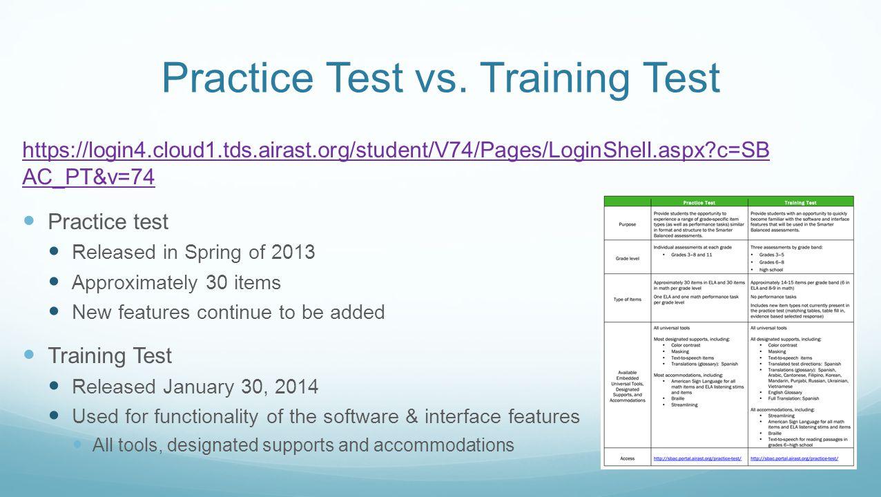 Practice Test vs.