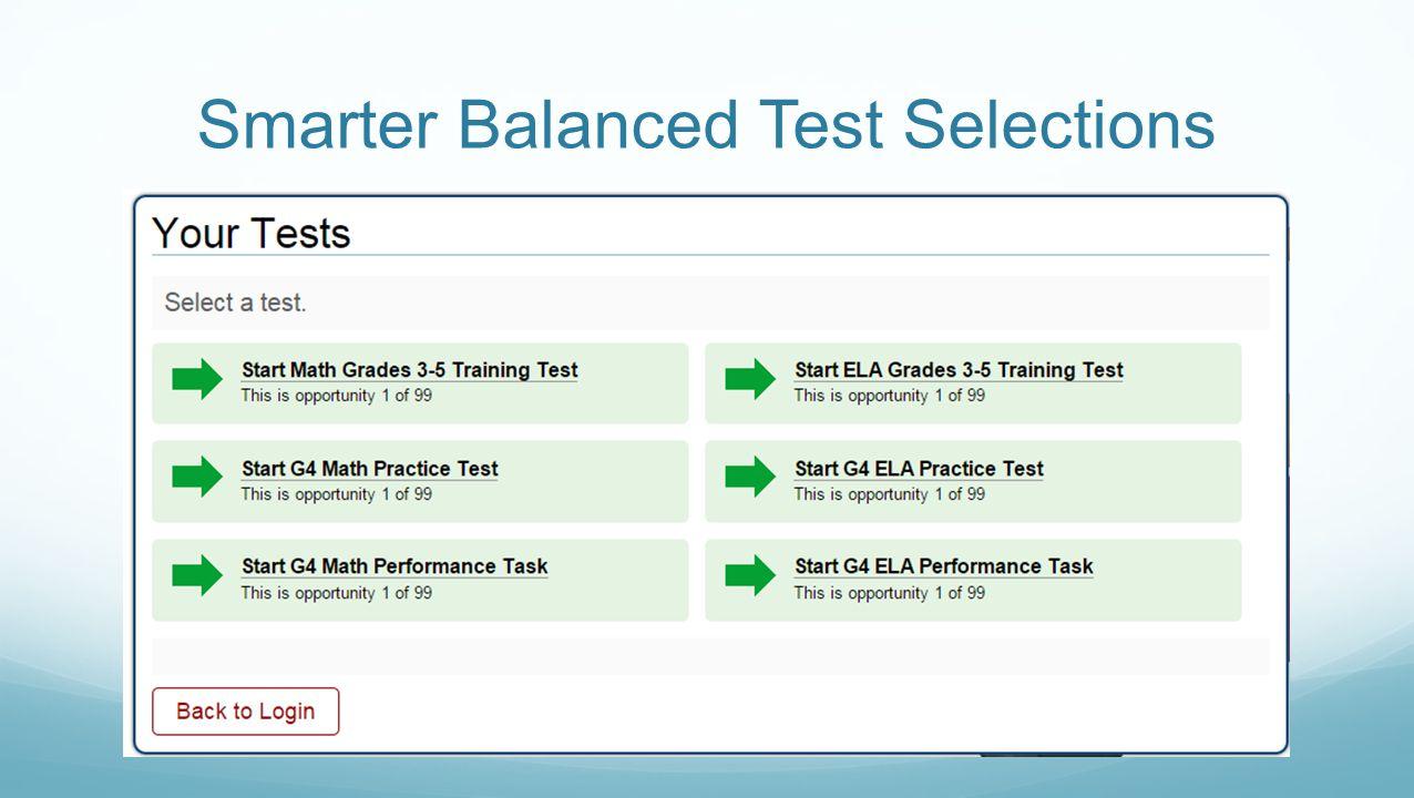 Smarter Balanced Test Selections