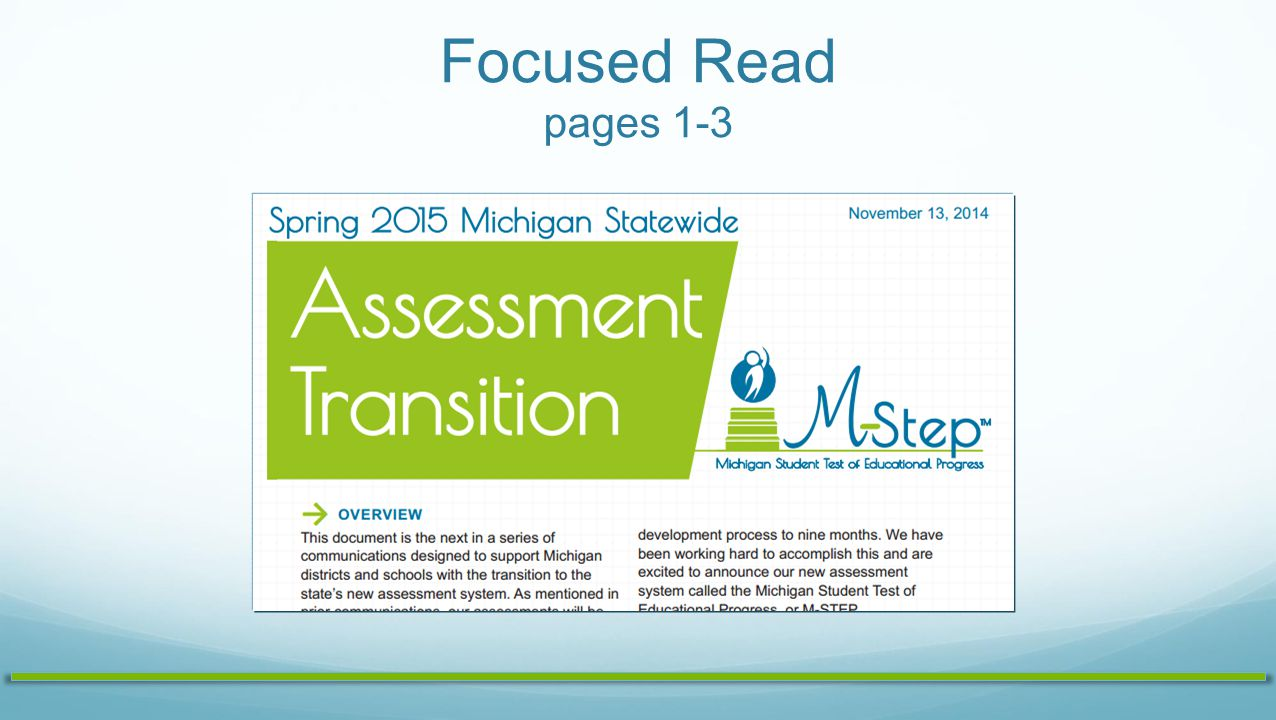Focus Read - Annotate Read – the handout Annotate - as you read using the following markings: √ = Got it.