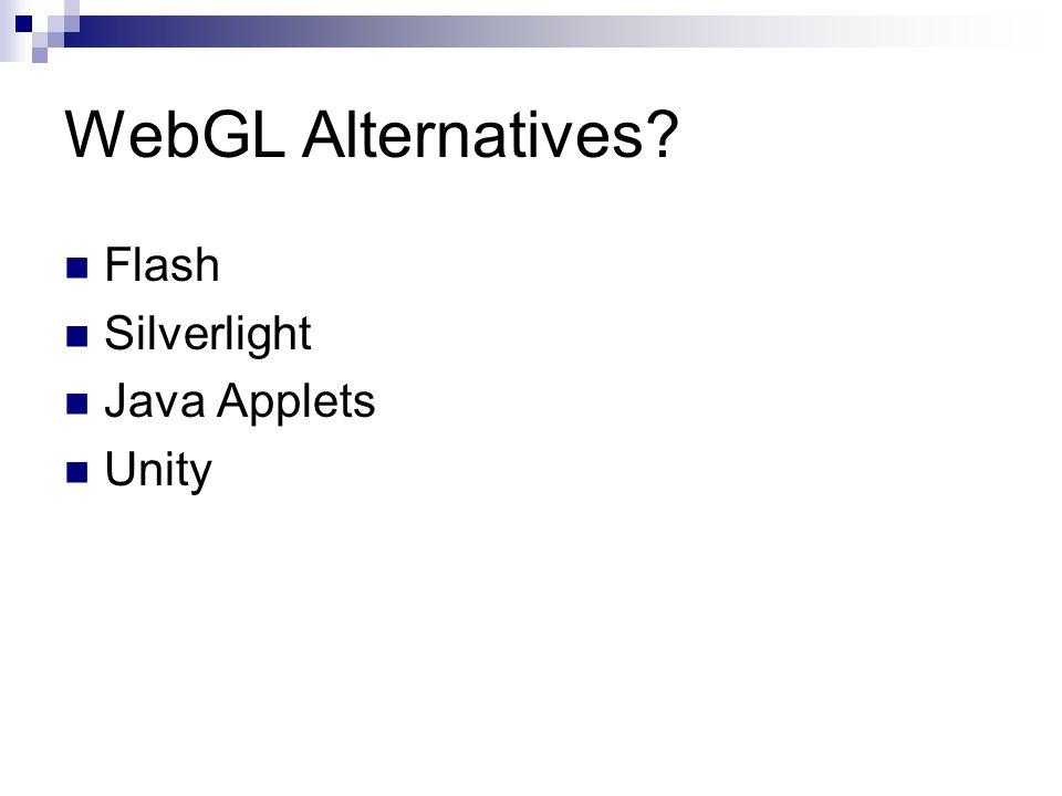 WebGL Alternatives? Flash Silverlight Java Applets Unity