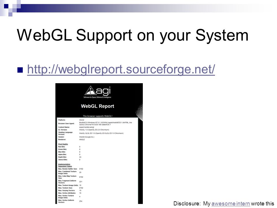 WebGL Support on your System http://webglreport.sourceforge.net/ Disclosure: My awesome intern wrote thisawesome intern