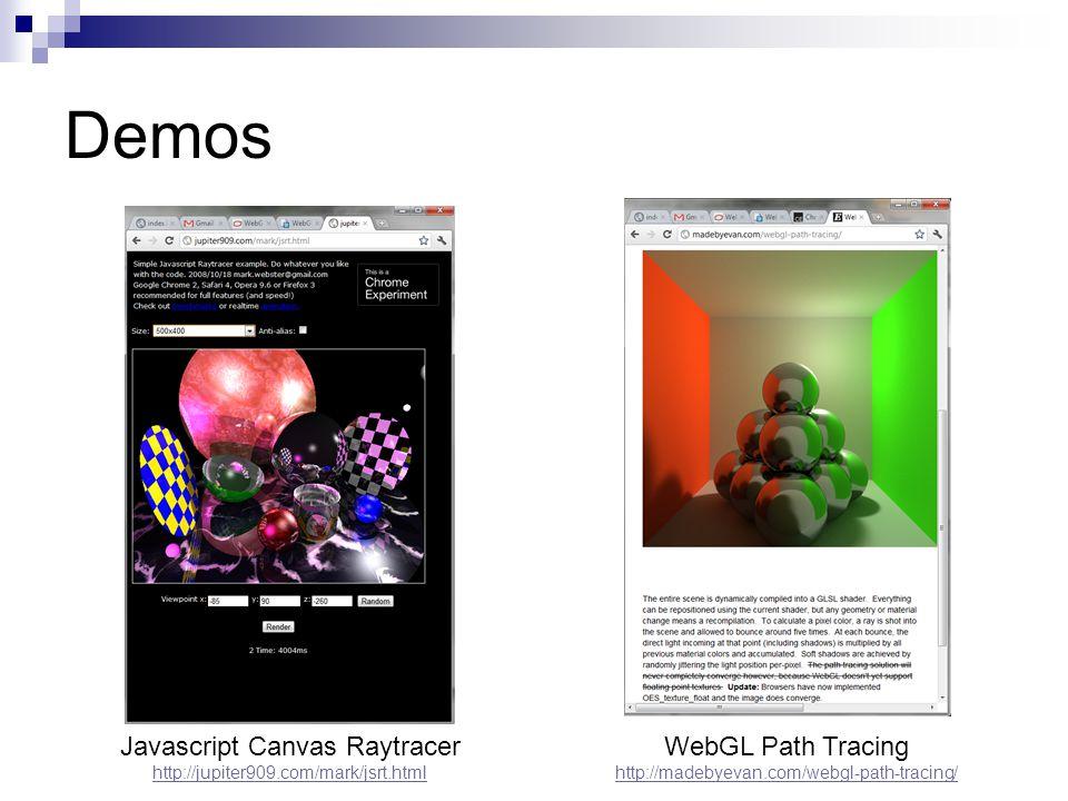 Demos Javascript Canvas Raytracer http://jupiter909.com/mark/jsrt.html WebGL Path Tracing http://madebyevan.com/webgl-path-tracing/