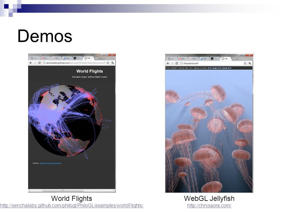 Demos World Flights http://senchalabs.github.com/philogl/PhiloGL/examples/worldFlights/ WebGL Jellyfish http://chrysaora.com/