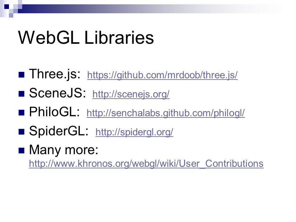 WebGL Libraries Three.js: https://github.com/mrdoob/three.js/ https://github.com/mrdoob/three.js/ SceneJS: http://scenejs.org/ http://scenejs.org/ PhiloGL: http://senchalabs.github.com/philogl/ http://senchalabs.github.com/philogl/ SpiderGL: http://spidergl.org/ http://spidergl.org/ Many more: http://www.khronos.org/webgl/wiki/User_Contributions http://www.khronos.org/webgl/wiki/User_Contributions