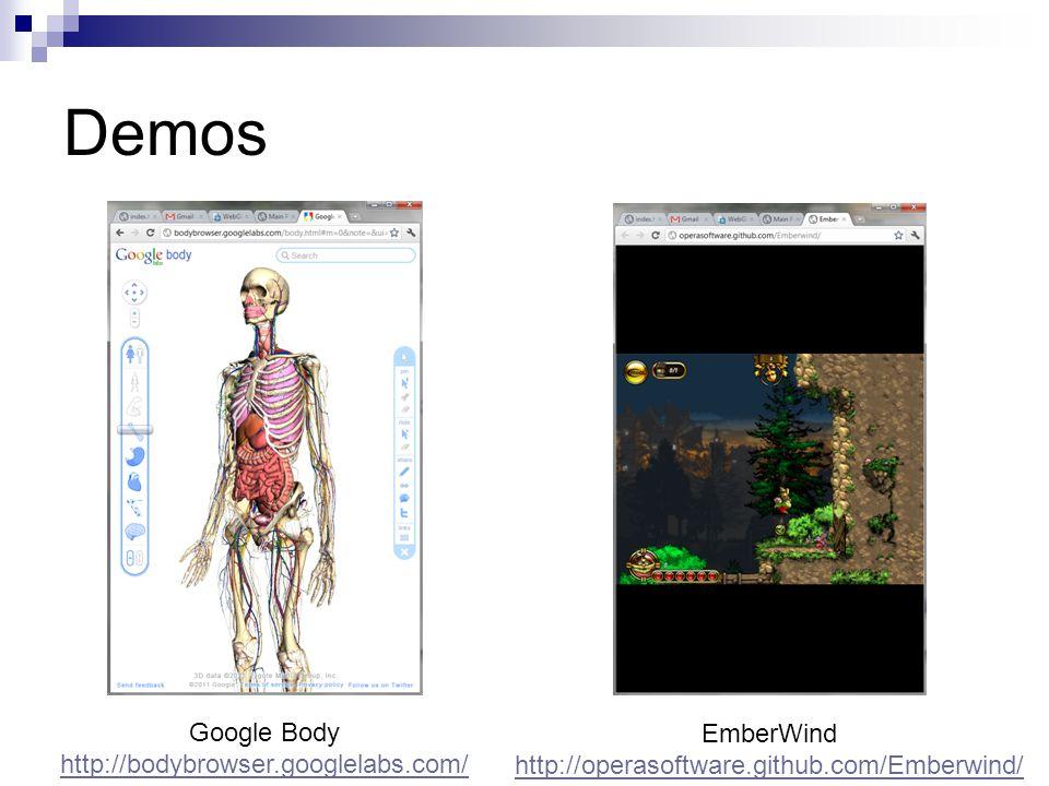 Demos Google Body http://bodybrowser.googlelabs.com/ EmberWind http://operasoftware.github.com/Emberwind/