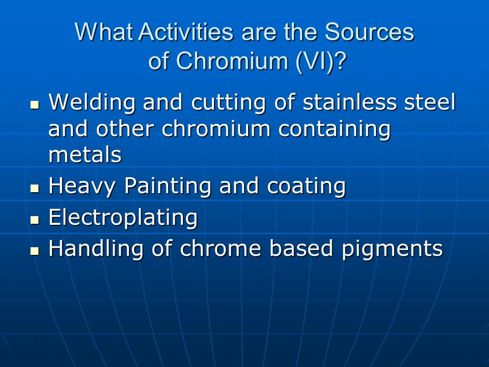What Activities are the Sources of Chromium (VI).