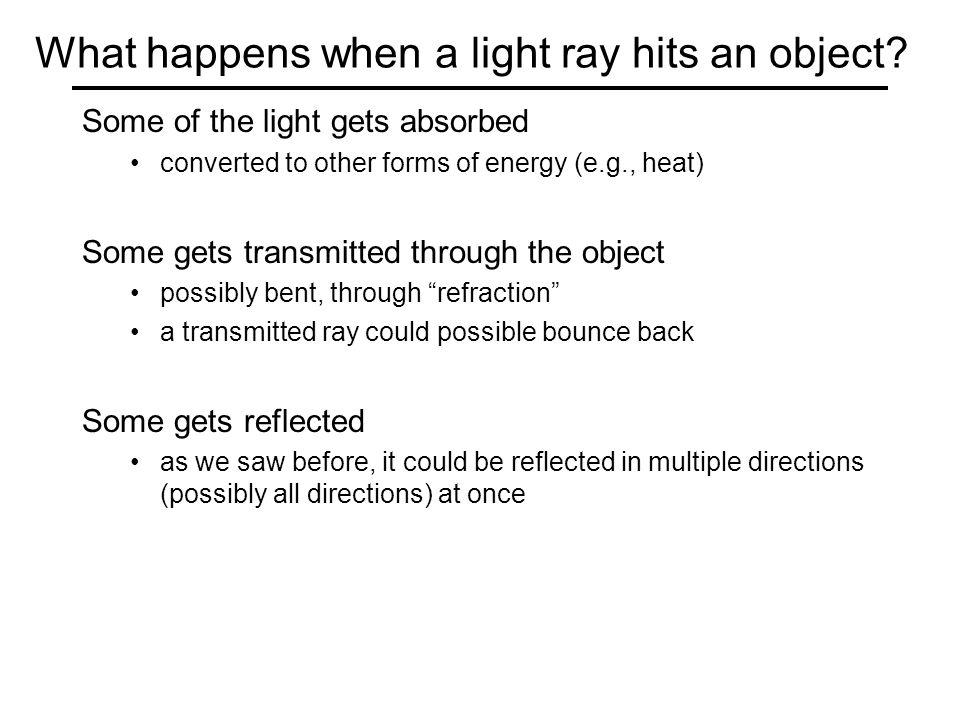 Diffuse reflection http://www.math.montana.edu/frankw/ccp/multiworld/twothree/lighting/applet1.htm http://www.math.montana.edu/frankw/ccp/multiworld/twothree/lighting/learn2.htm Demo