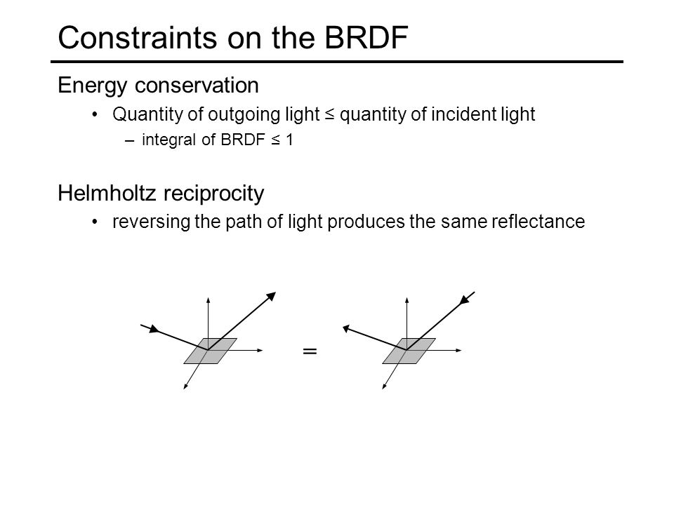Constraints on the BRDF Energy conservation Quantity of outgoing light ≤ quantity of incident light –integral of BRDF ≤ 1 Helmholtz reciprocity reversing the path of light produces the same reflectance =