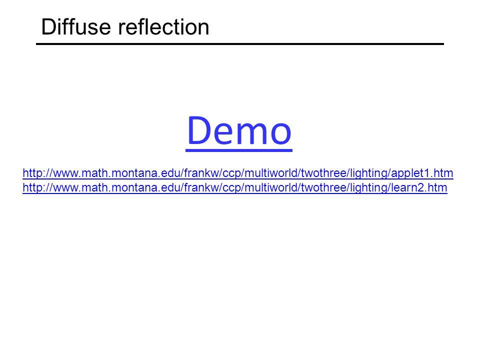 Diffuse reflection http://www.math.montana.edu/frankw/ccp/multiworld/twothree/lighting/applet1.htm http://www.math.montana.edu/frankw/ccp/multiworld/t
