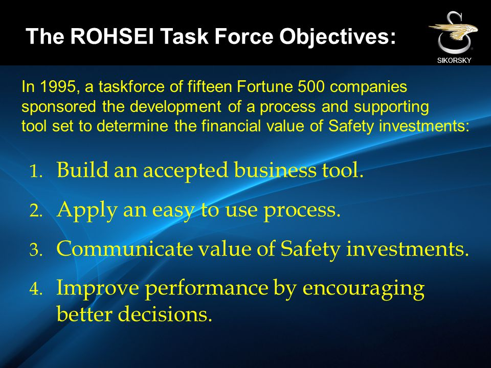 SIKORSKY 1. Build an accepted business tool. 2. Apply an easy to use process. 3. Communicate value of Safety investments. 4. Improve performance by en