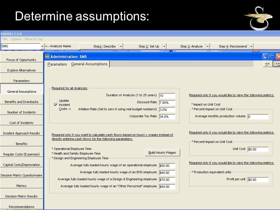 SIKORSKY Determine assumptions: