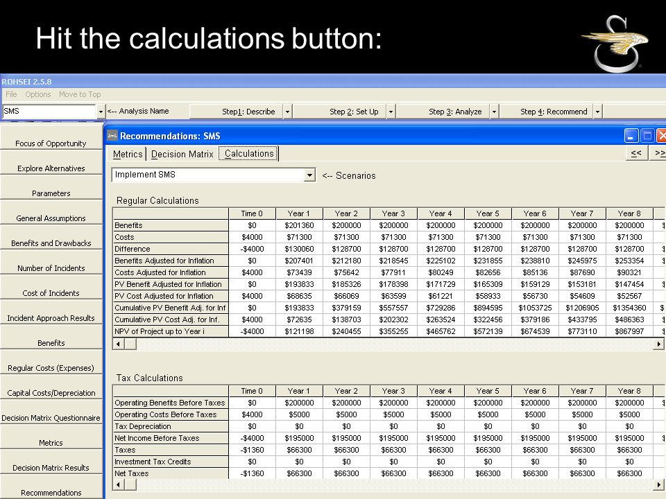 SIKORSKY Hit the calculations button: