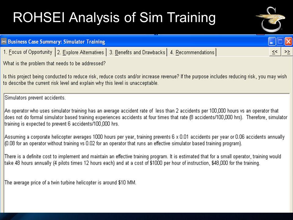 SIKORSKY ROHSEI Analysis of Sim Training