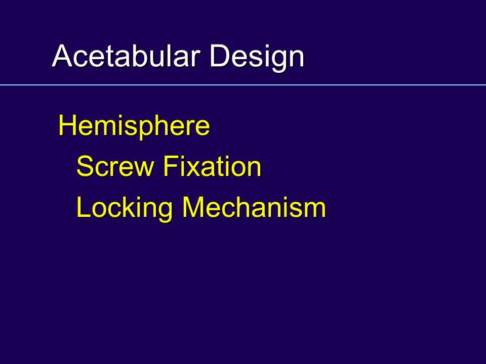 Acetabular Design Hemisphere Screw Fixation Locking Mechanism