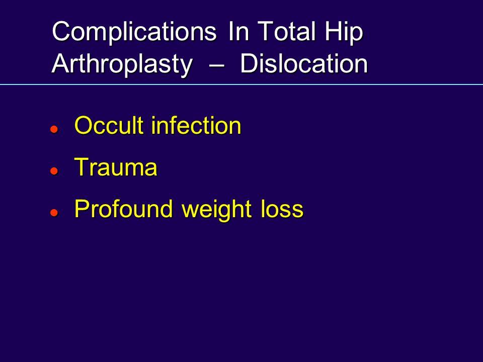Complications In Total Hip Arthroplasty – Dislocation Occult infection Occult infection Trauma Trauma Profound weight loss Profound weight loss