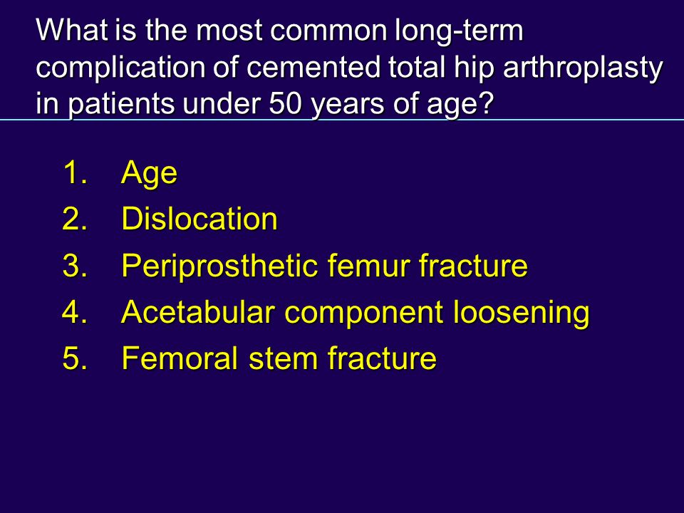 What is the most common long-term complication of cemented total hip arthroplasty in patients under 50 years of age? 1.Age 1.Age 2.Dislocation 2.Dislo