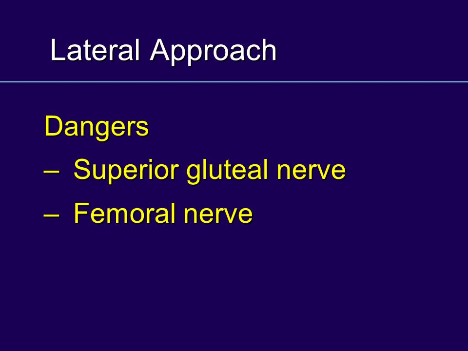 Lateral Approach Dangers – Superior gluteal nerve – Femoral nerve