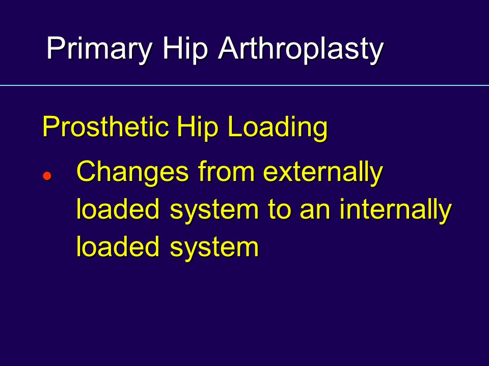 Primary Hip Arthroplasty Prosthetic Hip Loading Changes from externally loaded system to an internally loaded system Changes from externally loaded sy