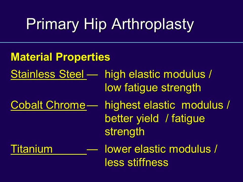 Primary Hip Arthroplasty Material Properties Stainless Steel—high elastic modulus / low fatigue strength Cobalt Chrome—highest elastic modulus / bette