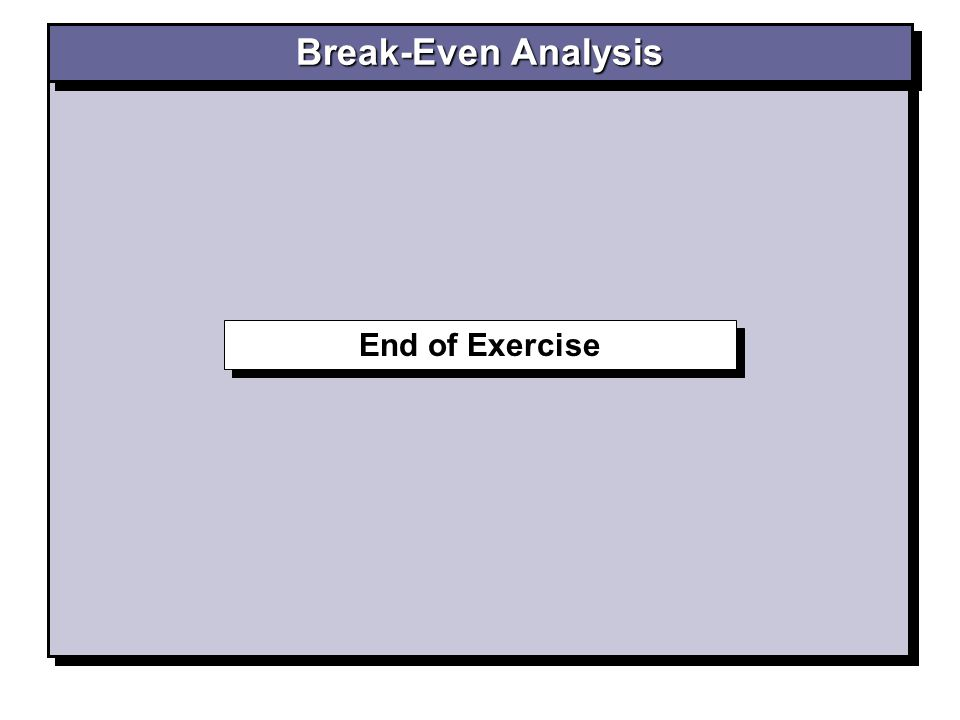 End of Exercise Break-Even Analysis